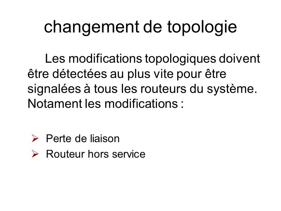 changement de topologie Les modifications topologiques doivent être détectées au plus vite pour être signalées à tous les routeurs du système. Notamen