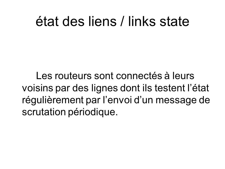 état des liens / links state Les routeurs sont connectés à leurs voisins par des lignes dont ils testent létat régulièrement par lenvoi dun message de