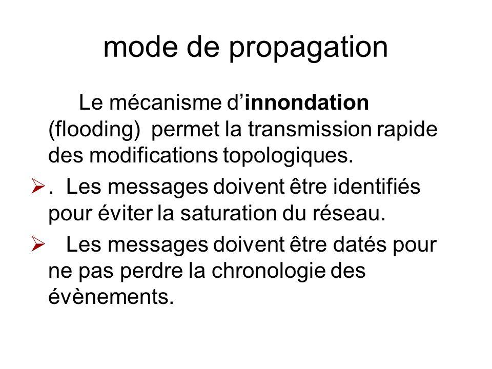 mode de propagation Le mécanisme dinnondation (flooding) permet la transmission rapide des modifications topologiques.. Les messages doivent être iden
