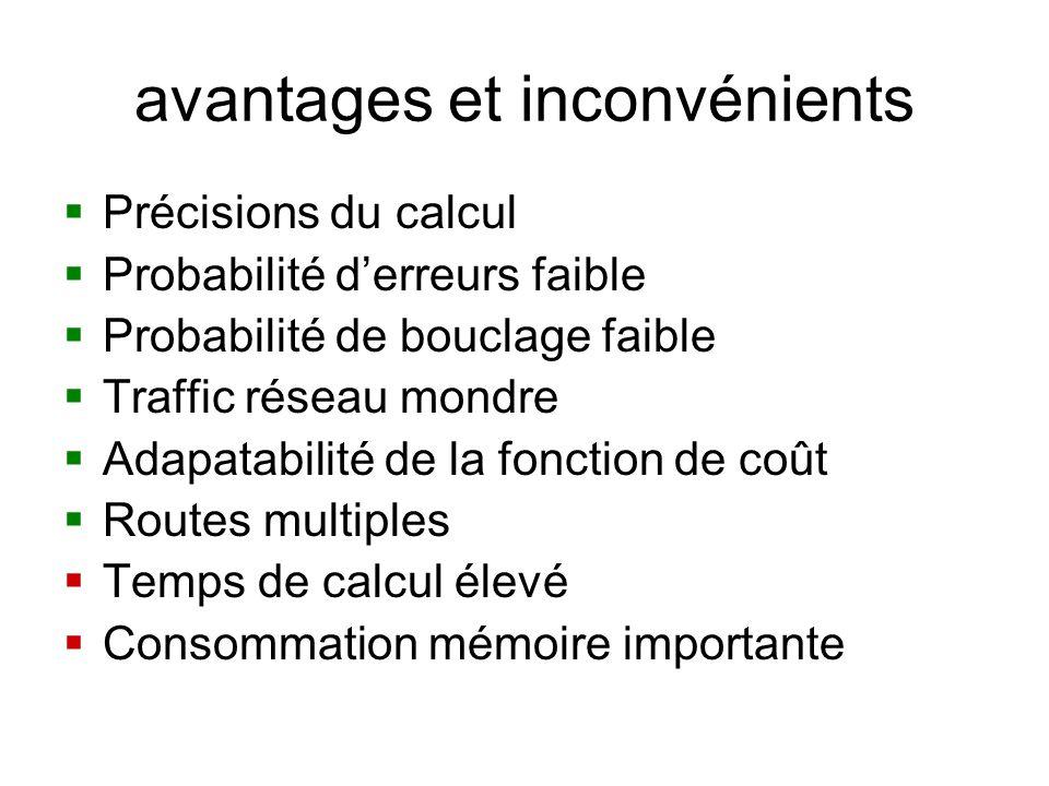 avantages et inconvénients Précisions du calcul Probabilité derreurs faible Probabilité de bouclage faible Traffic réseau mondre Adapatabilité de la f