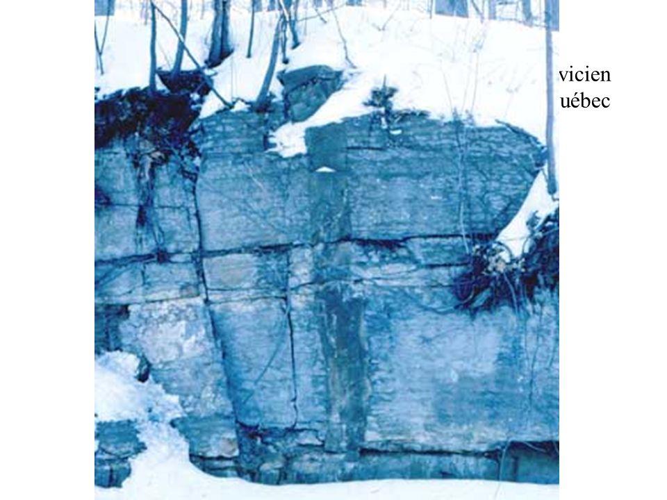 Dyke de gabbro dans les calcaires de Trenton Ordovicien moyen, mont Royal, Québec