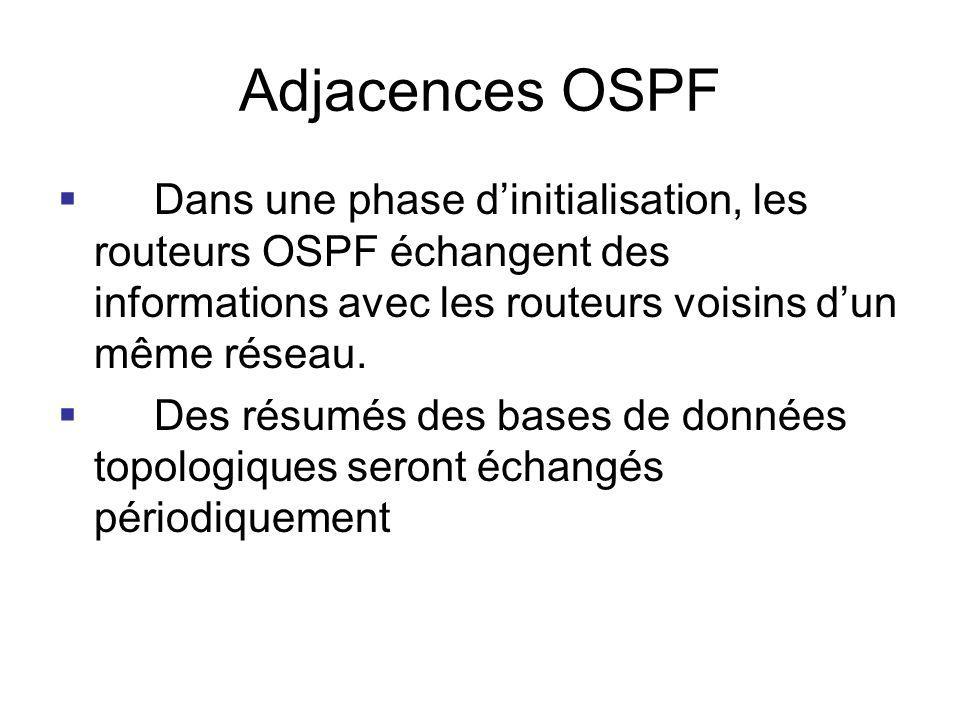 Adjacences OSPF Dans une phase dinitialisation, les routeurs OSPF échangent des informations avec les routeurs voisins dun même réseau. Des résumés de