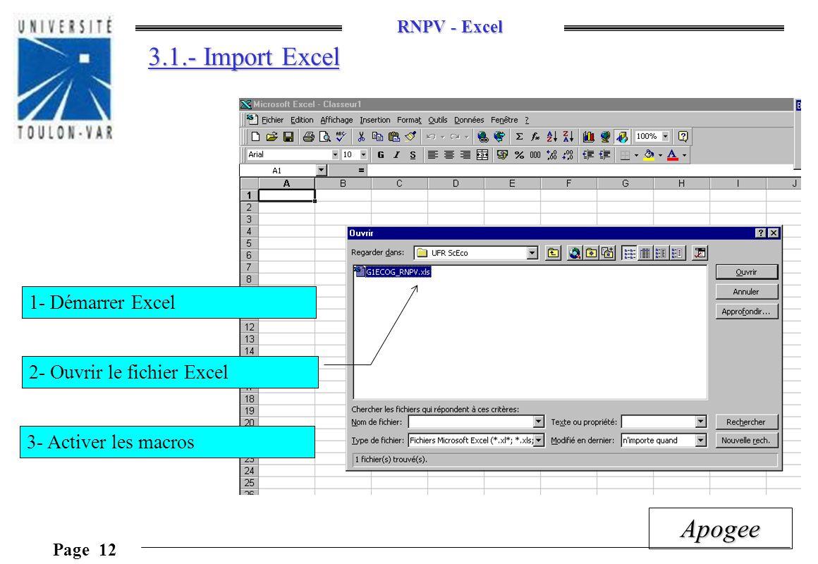 RNPV - Excel Page 12 Apogee 3.1.- Import Excel 2- Ouvrir le fichier Excel 1- Démarrer Excel 3- Activer les macros