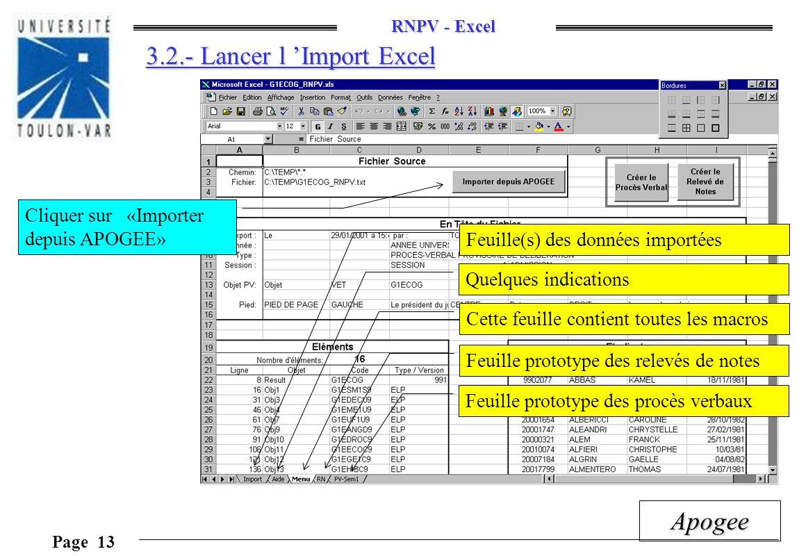 RNPV - Excel Page 13 Apogee 3.2.- Lancer l Import Excel Cliquer sur «Importer depuis APOGEE» Feuille(s) des données importées Quelques indications Cet