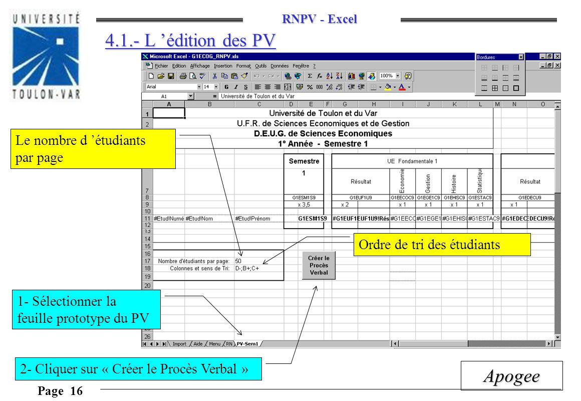 RNPV - Excel Page 16 Apogee 4.1.- L édition des PV Le nombre d étudiants par page 1- Sélectionner la feuille prototype du PV 2- Cliquer sur « Créer le