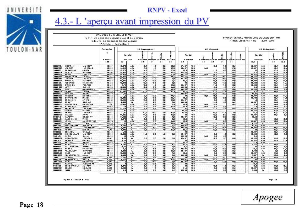 RNPV - Excel Page 18 Apogee 4.3.- L aperçu avant impression du PV