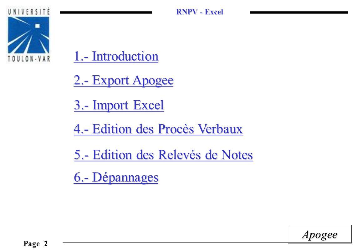 RNPV - Excel Page 13 Apogee 3.2.- Lancer l Import Excel Cliquer sur «Importer depuis APOGEE» Feuille(s) des données importées Quelques indications Cette feuille contient toutes les macros Feuille prototype des relevés de notes Feuille prototype des procès verbaux