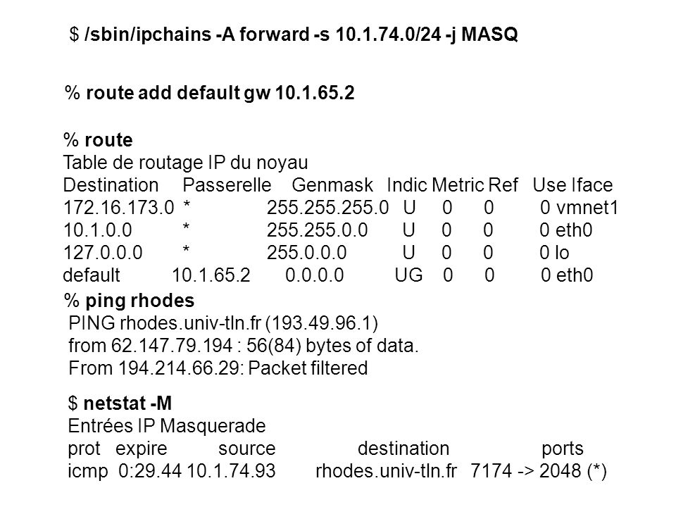 $ /sbin/ipchains -A forward -s 10.1.74.0/24 -j MASQ % route Table de routage IP du noyau Destination Passerelle Genmask Indic Metric Ref Use Iface 172