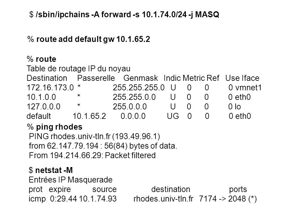 $ /sbin/ipchains -A forward -s 10.1.74.0/24 -j MASQ % route Table de routage IP du noyau Destination Passerelle Genmask Indic Metric Ref Use Iface 172.16.173.0 * 255.255.255.0 U 0 0 0 vmnet1 10.1.0.0 * 255.255.0.0 U 0 0 0 eth0 127.0.0.0 * 255.0.0.0 U 0 0 0 lo default 10.1.65.2 0.0.0.0 UG 0 0 0 eth0 $ netstat -M Entrées IP Masquerade prot expire source destination ports icmp 0:29.44 10.1.74.93 rhodes.univ-tln.fr 7174 -> 2048 (*) % route add default gw 10.1.65.2 % ping rhodes PING rhodes.univ-tln.fr (193.49.96.1) from 62.147.79.194 : 56(84) bytes of data.