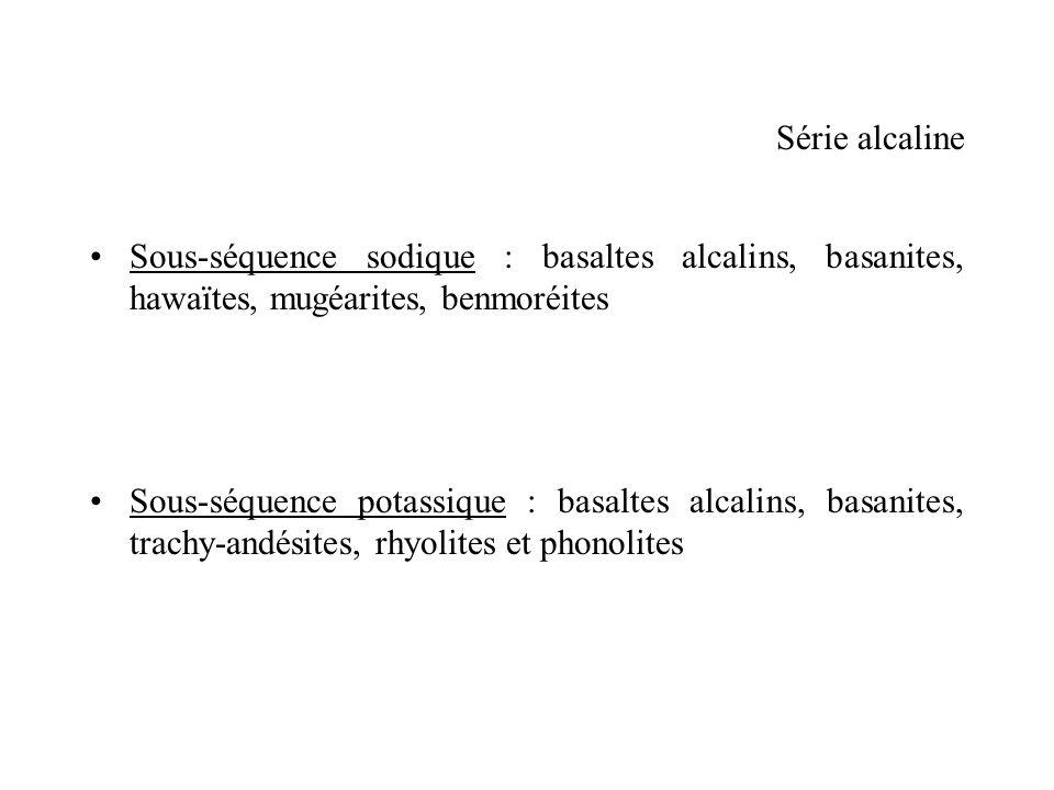 Série alcaline Sous-séquence sodique : basaltes alcalins, basanites, hawaïtes, mugéarites, benmoréites Sous-séquence potassique : basaltes alcalins, b