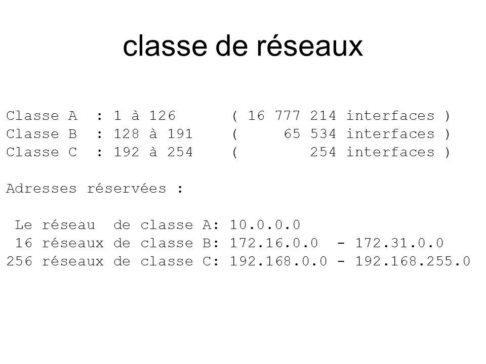 classe de réseaux Classe A : 1 à 126 ( 16 777 214 interfaces ) Classe B : 128 à 191 ( 65 534 interfaces ) Classe C : 192 à 254 ( 254 interfaces ) Adre