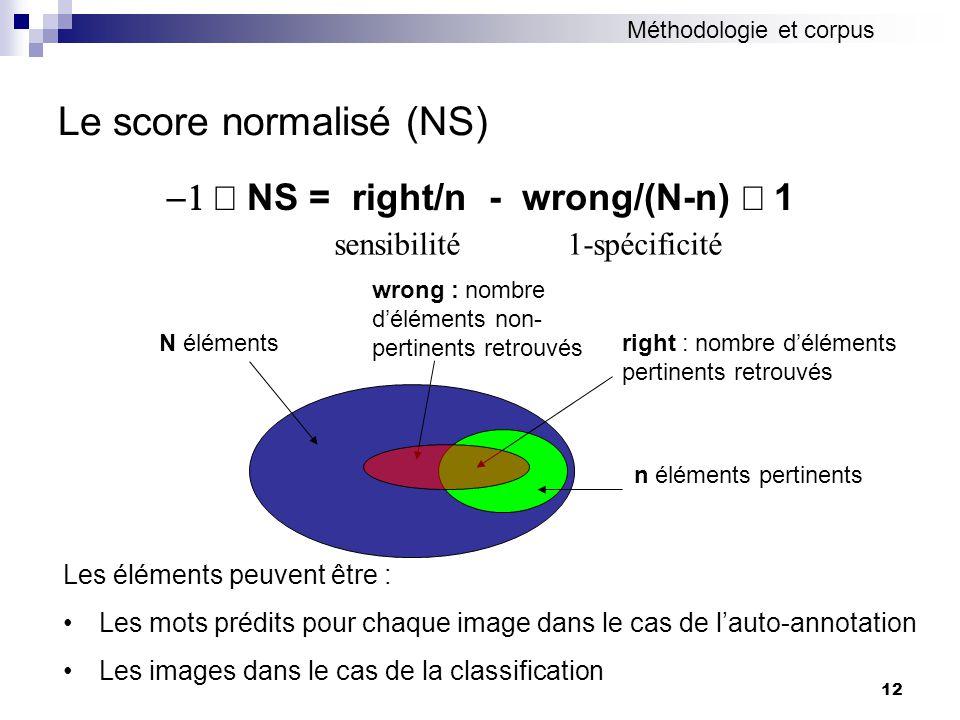 12 Le score normalisé (NS) NS = right/n - wrong/(N-n) 1 sensibilité 1-spécificité N éléments n éléments pertinents wrong : nombre déléments non- perti