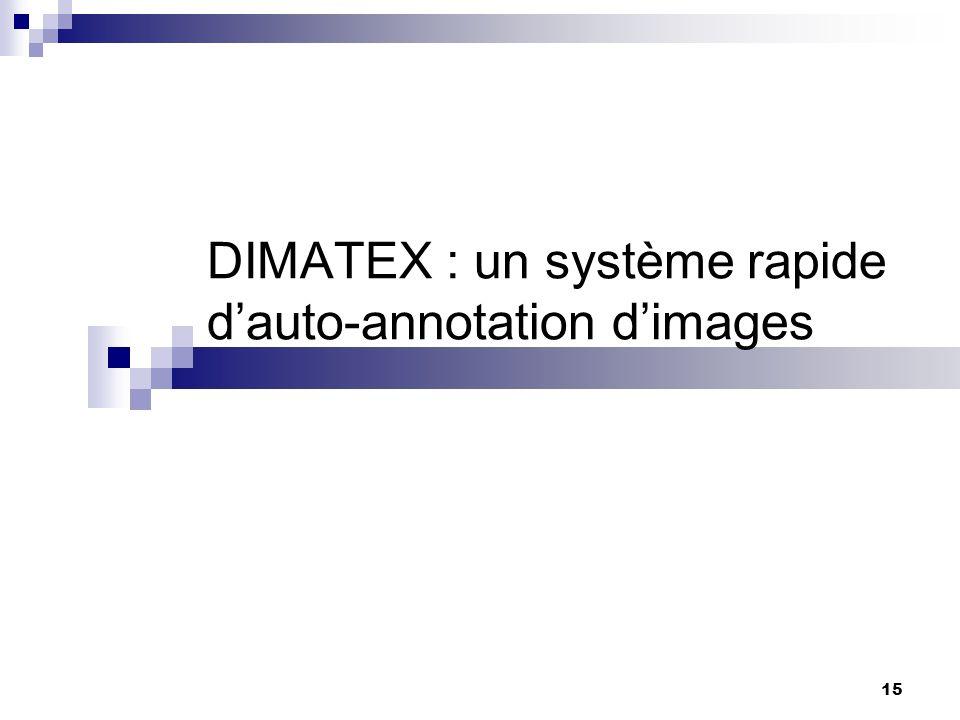 15 DIMATEX : un système rapide dauto-annotation dimages