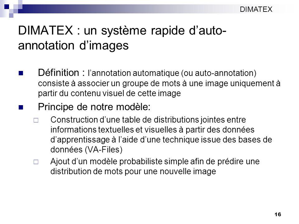 16 DIMATEX : un système rapide dauto- annotation dimages Définition : lannotation automatique (ou auto-annotation) consiste à associer un groupe de mots à une image uniquement à partir du contenu visuel de cette image Principe de notre modèle: Construction dune table de distributions jointes entre informations textuelles et visuelles à partir des données dapprentissage à laide dune technique issue des bases de données (VA-Files) Ajout dun modèle probabiliste simple afin de prédire une distribution de mots pour une nouvelle image DIMATEX