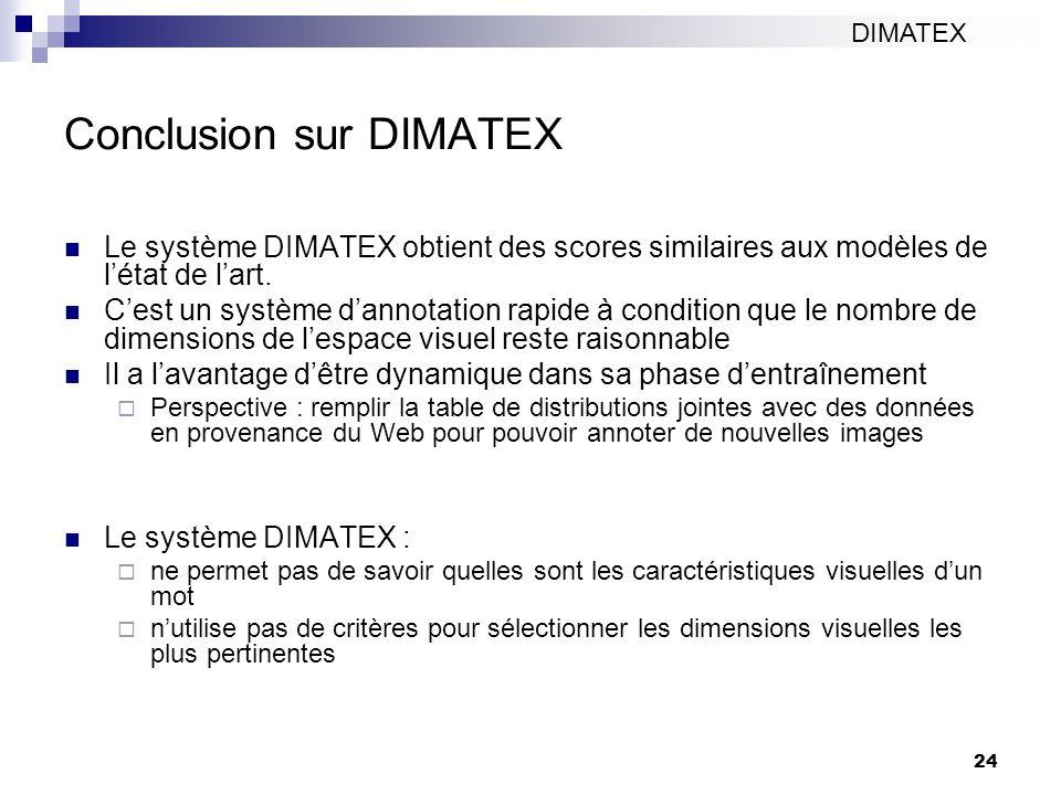 24 Conclusion sur DIMATEX Le système DIMATEX obtient des scores similaires aux modèles de létat de lart. Cest un système dannotation rapide à conditio