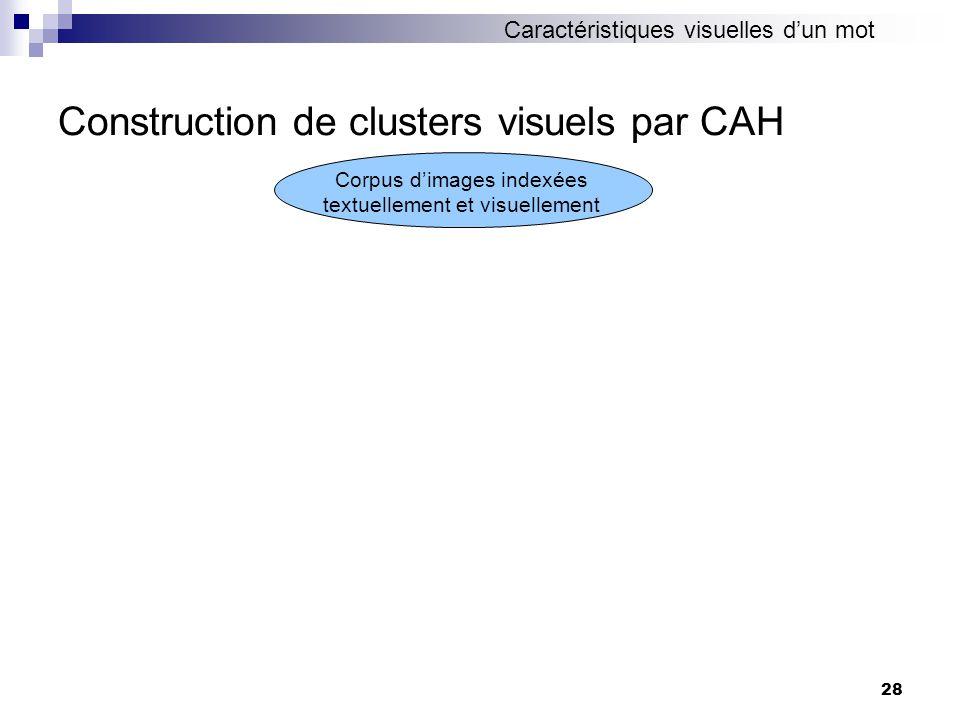 28 Construction de clusters visuels par CAH Corpus dimages indexées textuellement et visuellement Caractéristiques visuelles dun mot