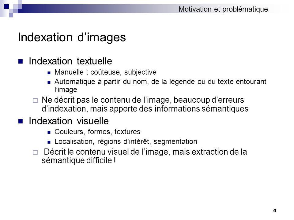 45 Expérimentations Corpus COREL 5000 images dapprentissage 2500 images de validation 2500 images de test Espaces visuels : Lab : 6 dimensions visuelles de couleurs 40DIMU : 40 dimensions visuelles de lespace U Caractéristiques visuelles dun mot 40DIMULab Nombre de dimensions406 NS moyen sur 52 mots (validation)0.2360.290 NS moyen sur 52 mots (test)0.1920.248
