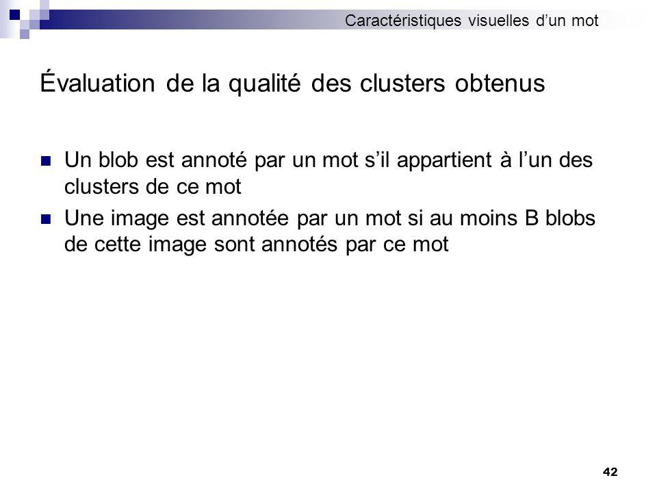 42 Évaluation de la qualité des clusters obtenus Un blob est annoté par un mot sil appartient à lun des clusters de ce mot Une image est annotée par u