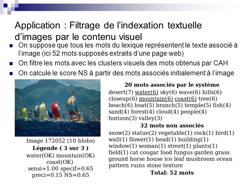 47 Application : Filtrage de lindexation textuelle dimages par le contenu visuel On suppose que tous les mots du lexique représentent le texte associé