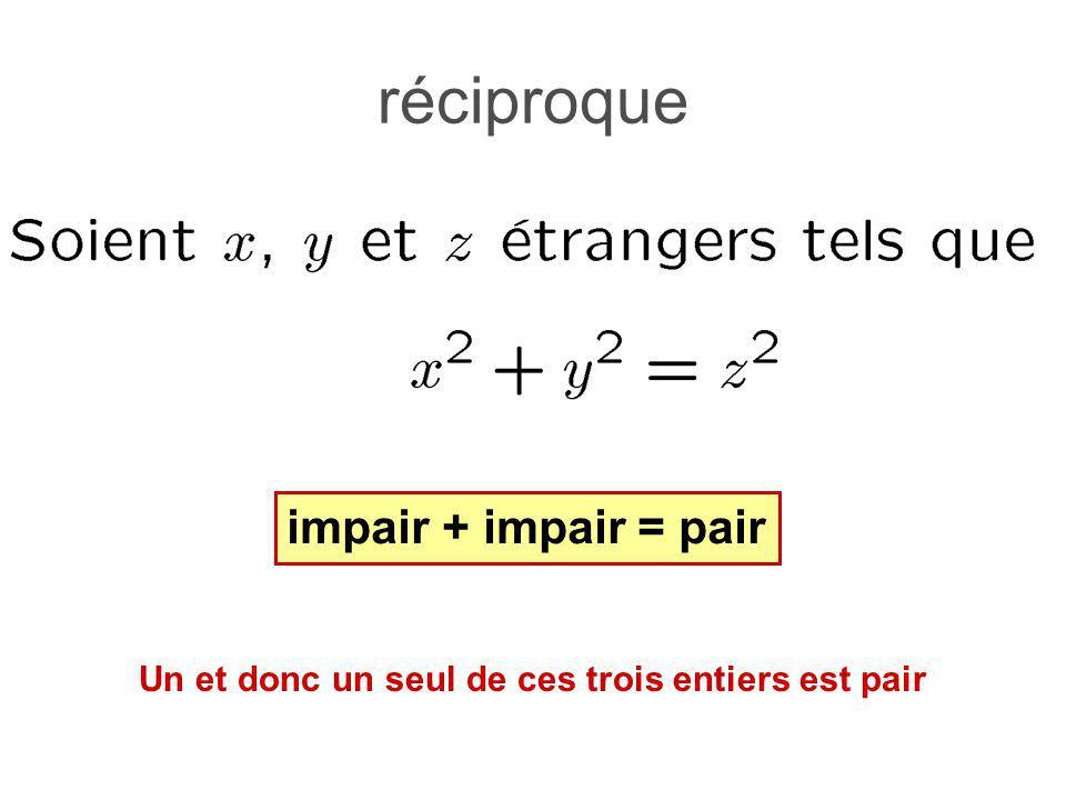 réciproque impair + impair = pair Un et donc un seul de ces trois entiers est pair