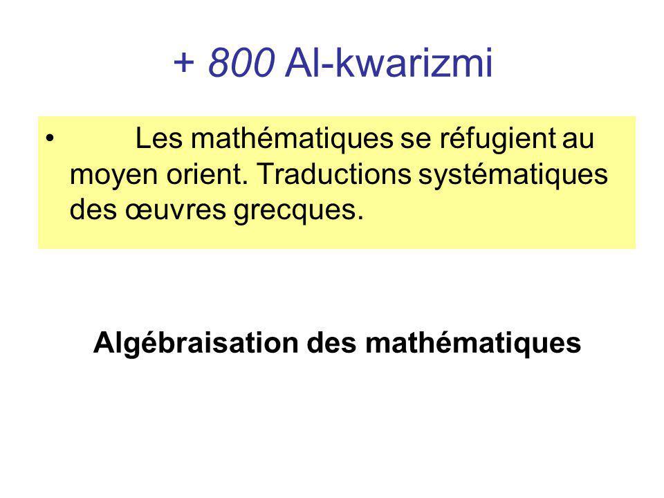 + 800 Al-kwarizmi Les mathématiques se réfugient au moyen orient. Traductions systématiques des œuvres grecques. Algébraisation des mathématiques