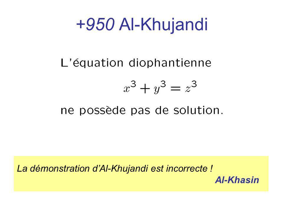 +950 Al-Khujandi La démonstration dAl-Khujandi est incorrecte ! Al-Khasin