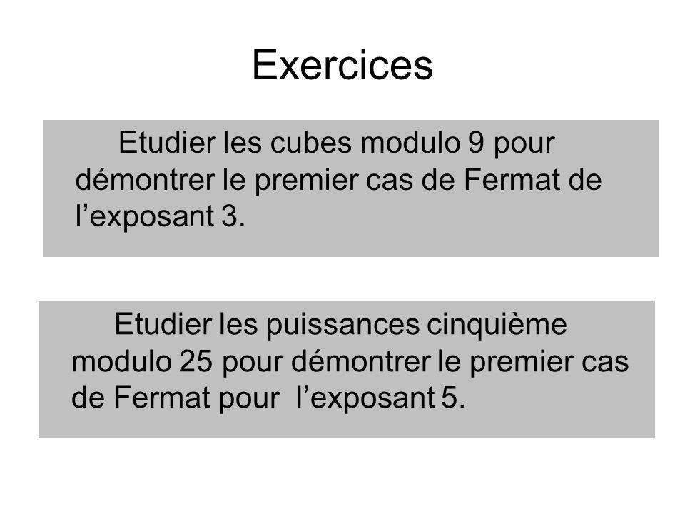 Exercices Etudier les cubes modulo 9 pour démontrer le premier cas de Fermat de lexposant 3. Etudier les puissances cinquième modulo 25 pour démontrer