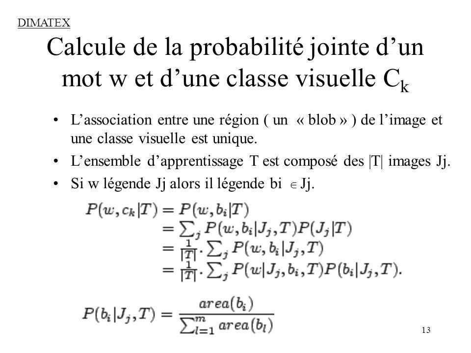 13 Calcule de la probabilité jointe dun mot w et dune classe visuelle C k DIMATEX Lassociation entre une région ( un « blob » ) de limage et une classe visuelle est unique.
