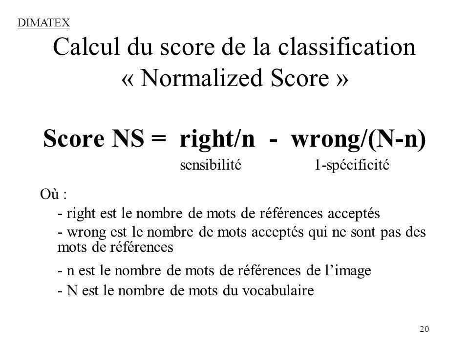 20 Calcul du score de la classification « Normalized Score » Score NS = right/n - wrong/(N-n) Où : - right est le nombre de mots de références acceptés - wrong est le nombre de mots acceptés qui ne sont pas des mots de références - n est le nombre de mots de références de limage - N est le nombre de mots du vocabulaire DIMATEX sensibilité 1-spécificité