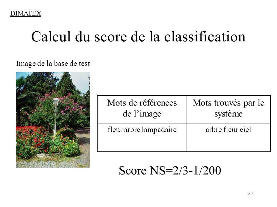 21 Calcul du score de la classification Image de la base de test Mots de références de limage Mots trouvés par le système fleur arbre lampadairearbre fleur ciel Score NS=2/3-1/200 DIMATEX