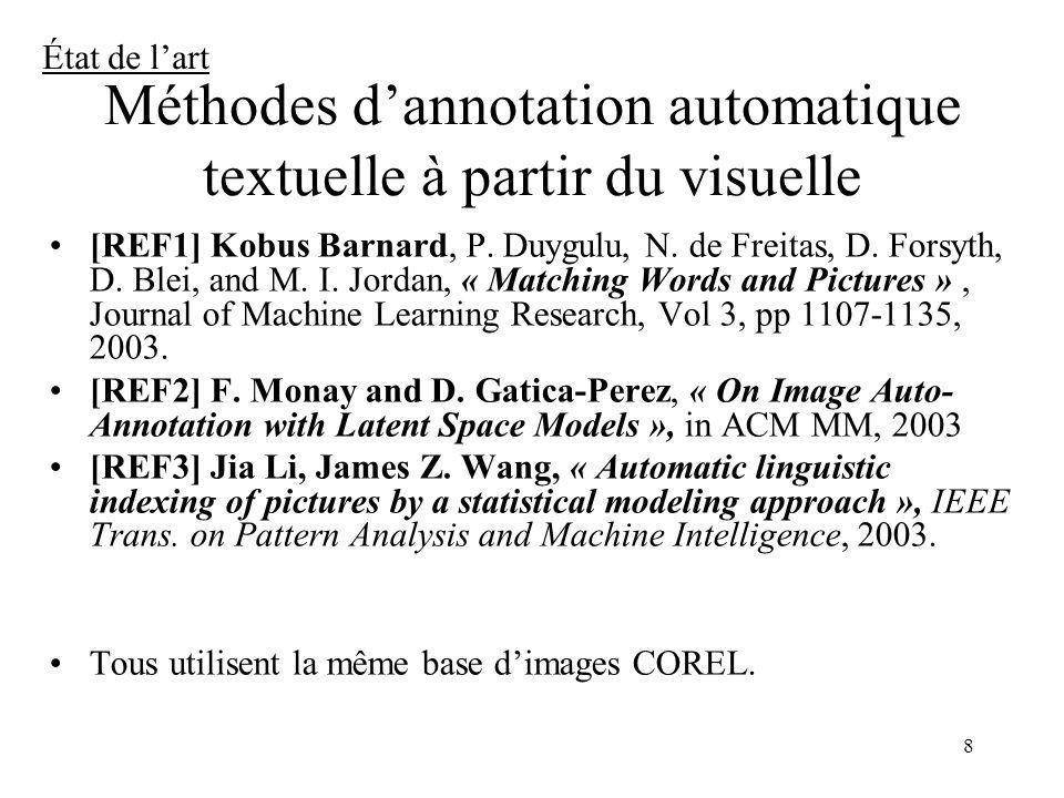 8 Méthodes dannotation automatique textuelle à partir du visuelle [REF1] Kobus Barnard, P. Duygulu, N. de Freitas, D. Forsyth, D. Blei, and M. I. Jord