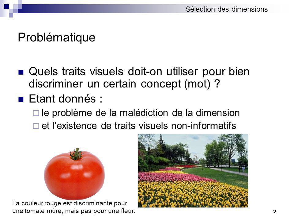 2 Problématique Quels traits visuels doit-on utiliser pour bien discriminer un certain concept (mot) .
