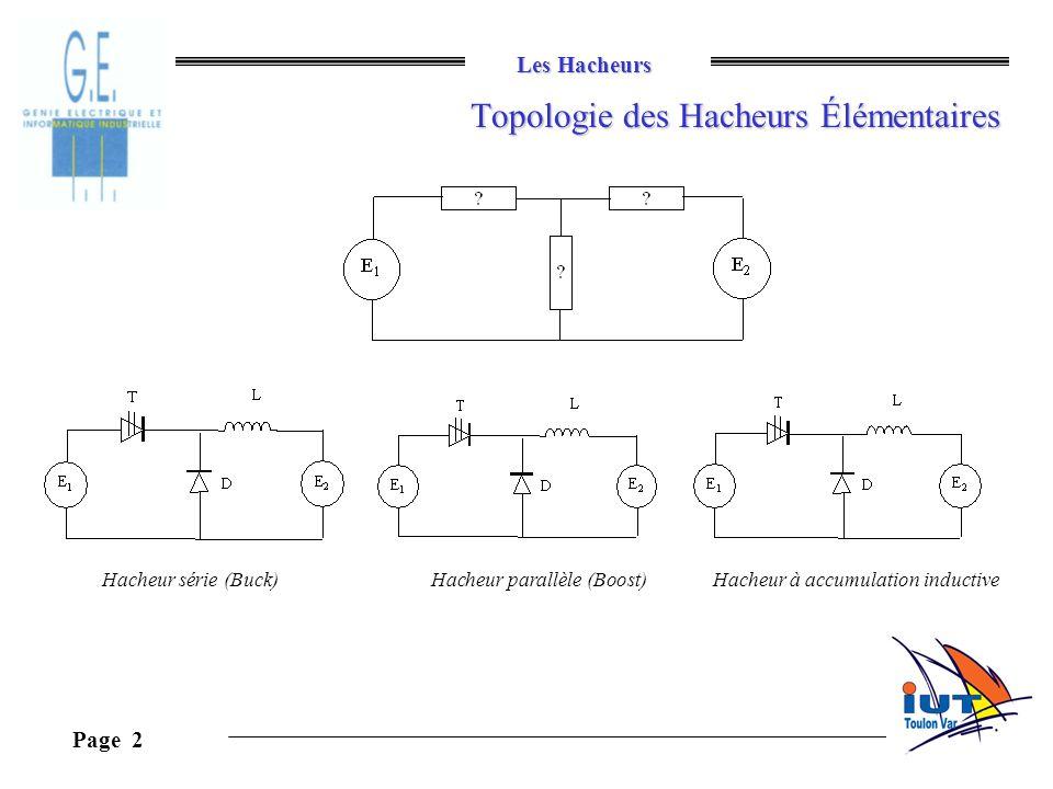 Les Hacheurs Page 2 Topologie des Hacheurs Élémentaires Hacheur série (Buck)Hacheur parallèle (Boost)Hacheur à accumulation inductive