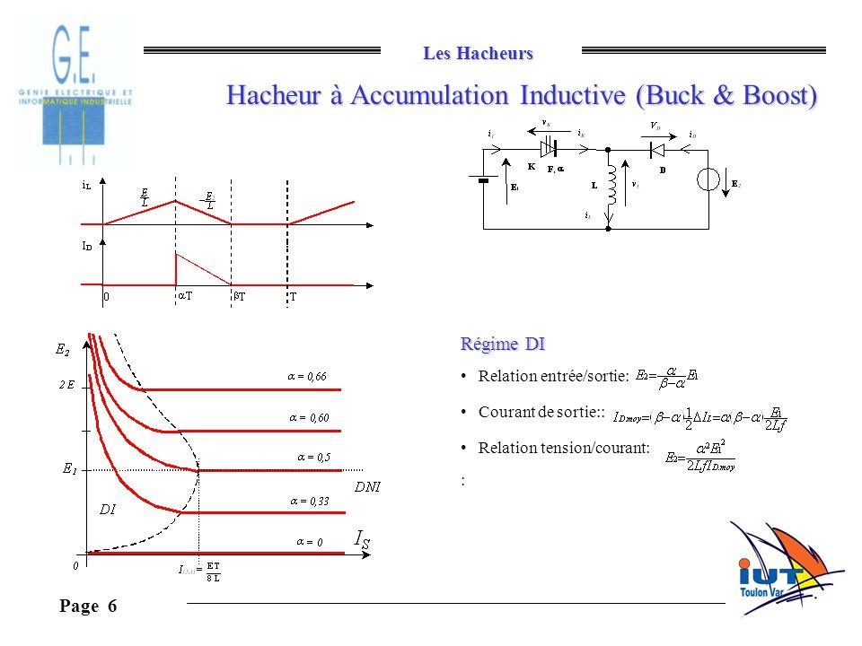 Les Hacheurs Page 6 Hacheur à Accumulation Inductive (Buck & Boost) Régime DI Relation entrée/sortie: Courant de sortie:: Relation tension/courant: :