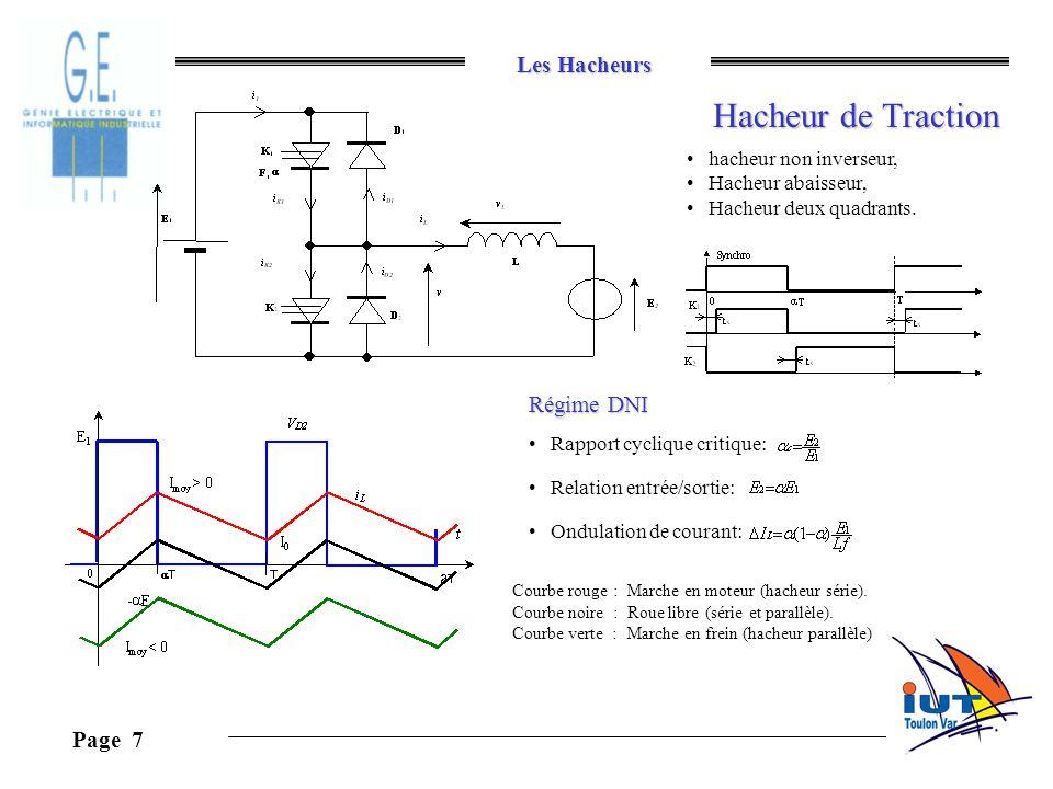 Les Hacheurs Page 7 Hacheur de Traction hacheur non inverseur, Hacheur abaisseur, Hacheur deux quadrants. Régime DNI Rapport cyclique critique: Relati