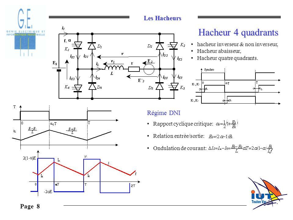 Les Hacheurs Page 8 Hacheur 4 quadrants hacheur inverseur & non inverseur, Hacheur abaisseur, Hacheur quatre quadrants. Régime DNI Rapport cyclique cr