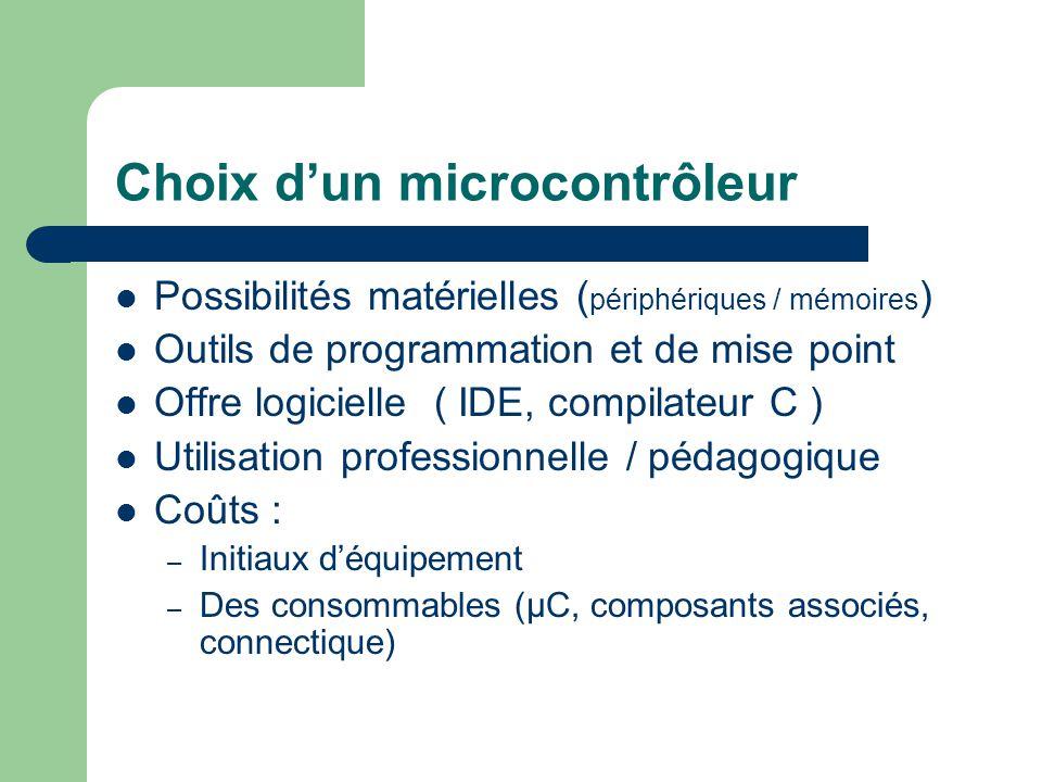 Choix dun microcontrôleur Possibilités matérielles ( périphériques / mémoires ) Outils de programmation et de mise point Offre logicielle ( IDE, compi