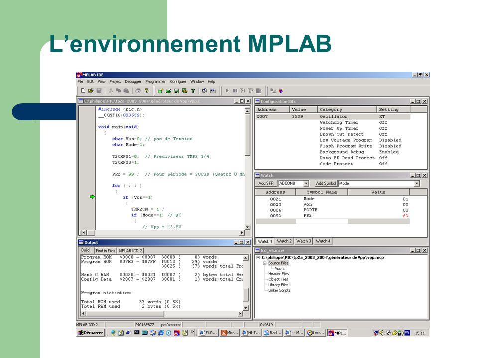 Lenvironnement MPLAB