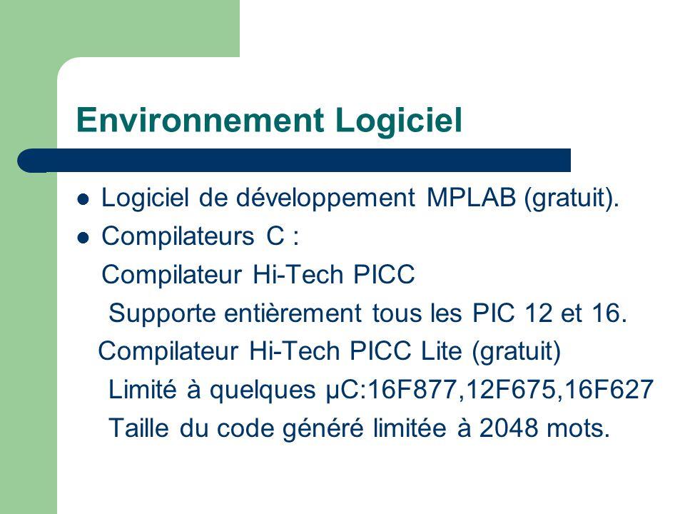 Environnement Logiciel Logiciel de développement MPLAB (gratuit). Compilateurs C : Compilateur Hi-Tech PICC Supporte entièrement tous les PIC 12 et 16