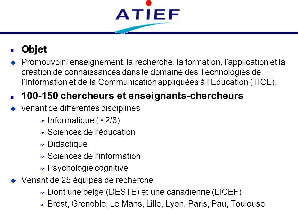n Objet u Promouvoir lenseignement, la recherche, la formation, lapplication et la création de connaissances dans le domaine des Technologies de lInfo