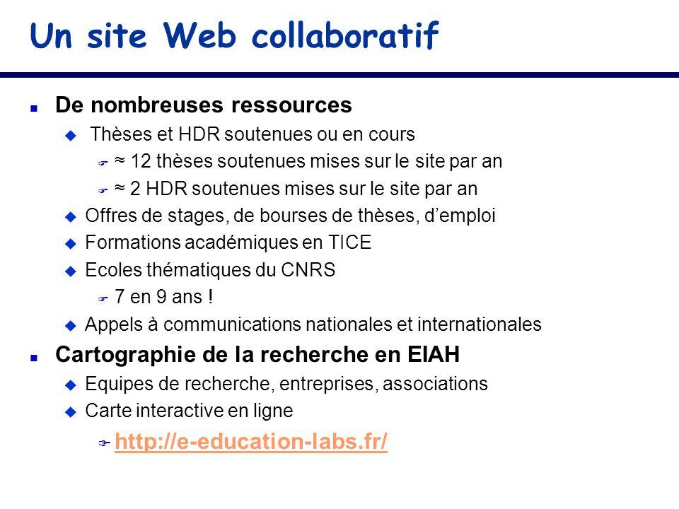 Un site Web collaboratif n De nombreuses ressources u Thèses et HDR soutenues ou en cours F 12 thèses soutenues mises sur le site par an F 2 HDR soute