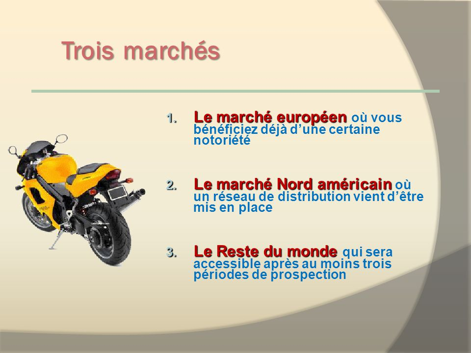 Trois marchés 1.Le marché européen 1.