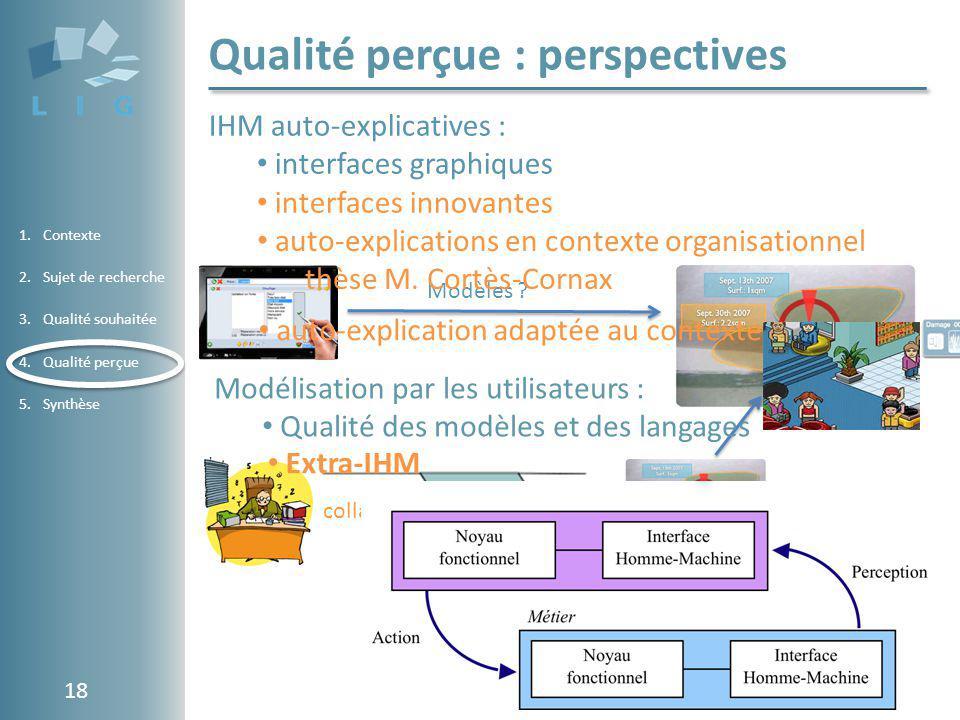 Using Software Metrics in the Evaluation of a Conceptual Component Model 1.Contexte 2.Sujet de recherche 3.Qualité souhaitée 4.Qualité perçue 5.Synthè