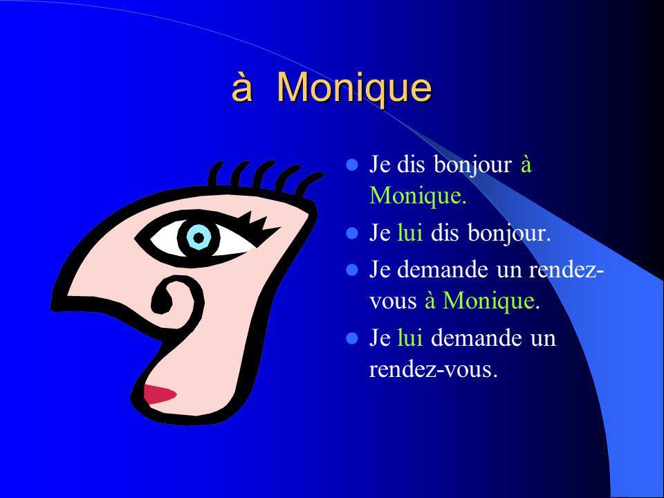 à Monique Je dis bonjour à Monique.Je lui dis bonjour.