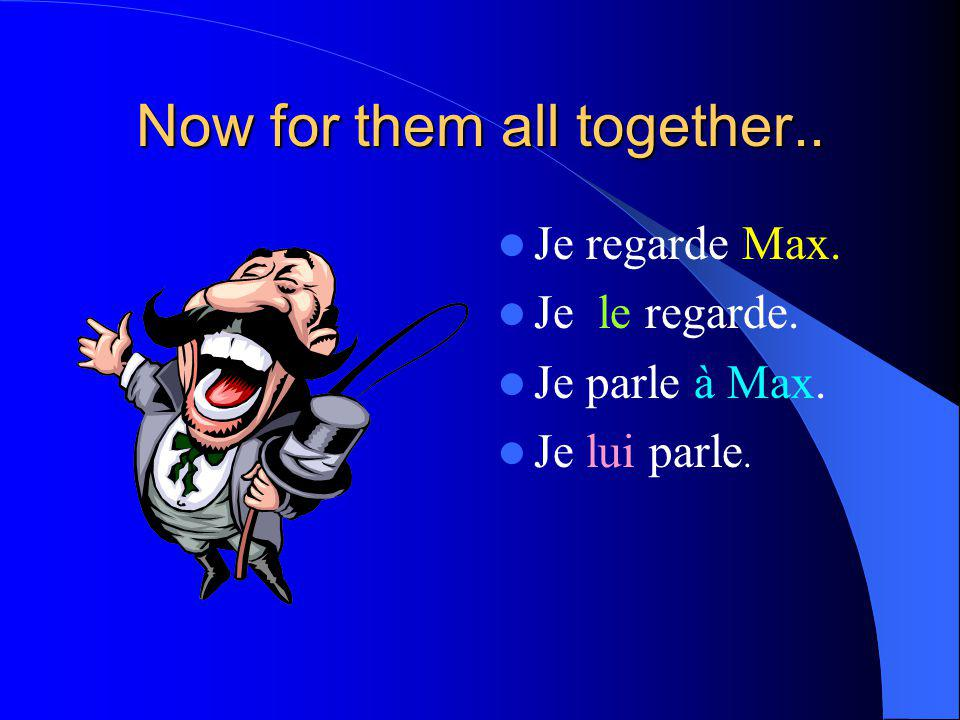 Now for them all together.. Je regarde Max. Je le regarde. Je parle à Max. Je lui parle.