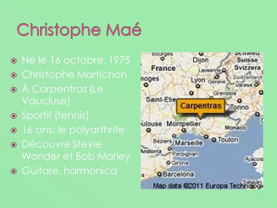 Né le 16 octobre, 1975 Christophe Martichon À Carpentras (Le Vaucluse) Sportif (tennis) 16 ans: le polyarthrite Découvre Stevie Wonder et Bob Marley G