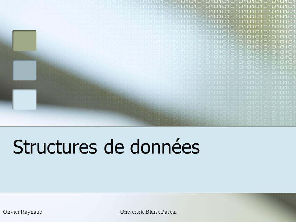Olivier RaynaudUniversité Blaise Pascal Structures de données