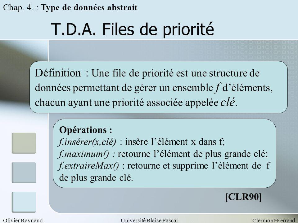 Olivier RaynaudUniversité Blaise PascalClermont-Ferrand T.D.A. Files de priorité Opérations : f.insérer(x,clé) : insère lélément x dans f; f.maximum()