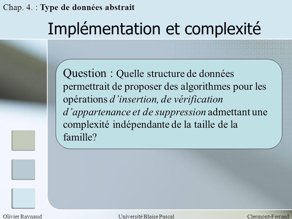 Olivier RaynaudUniversité Blaise PascalClermont-Ferrand Implémentation et complexité Chap. 4. : Type de données abstrait Question : Quelle structure d