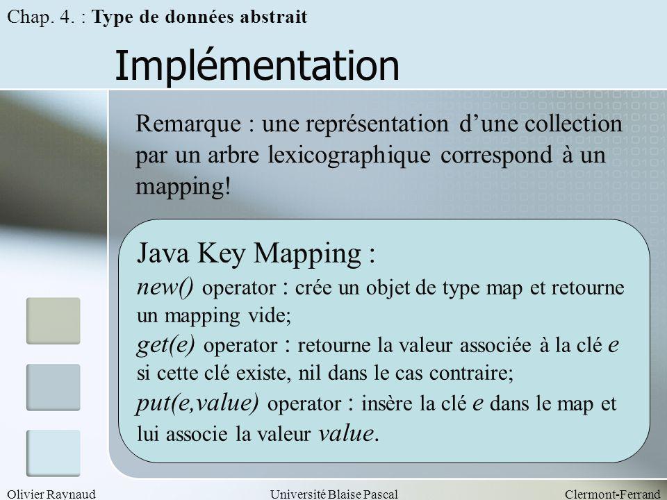 Olivier RaynaudUniversité Blaise PascalClermont-Ferrand Implémentation Chap. 4. : Type de données abstrait Remarque : une représentation dune collecti